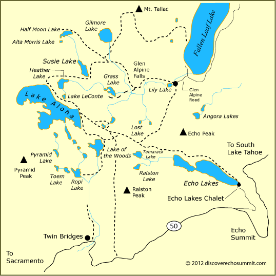 map of Desolation Wilderness, CA