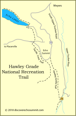 map of Hawley Grade National Recreation Trail at Echo Summit, CA