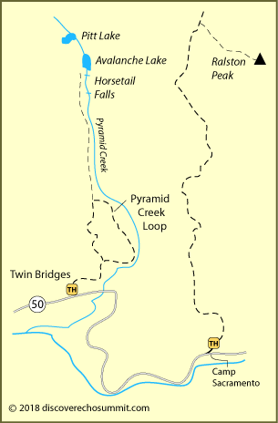 map of Horsetail Falls trail and Ralston Peak trail at Echo Summit, CA