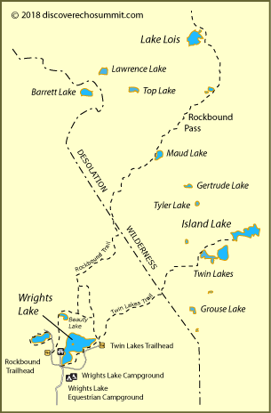 map of trails from Wrights Lake to Lake Lois in the Desolation Wilderness, CA
