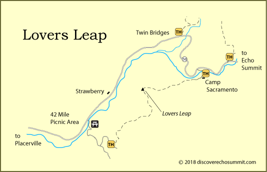 map of trails to Lovers Leap at Strawberry, near Echo Summit, CA