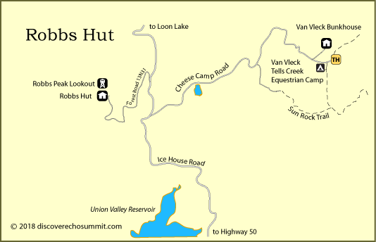 map of Robbs Hut, Van Vleck Bunkhouse, El Dorado National Forest, CA